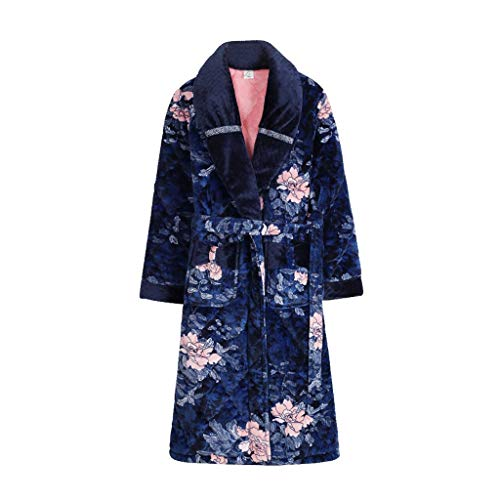 ZSQAW Plus Size M-XXXL Nachthemd Damen Winter dreischichtig dicken warmen Flanell gesteppten Pyjamas Langen Korallen Fleece Bademantel Bademantel (Size : X-Large)