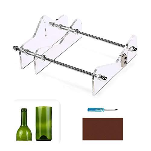 Glasschneider für Weinflasche, Flaschenschneider Bottle Cutter Kit zur DIY Flaschen Pflanzmaschinen Kronleuchter, Aus Acryl und Metall (Transparente Farbe)