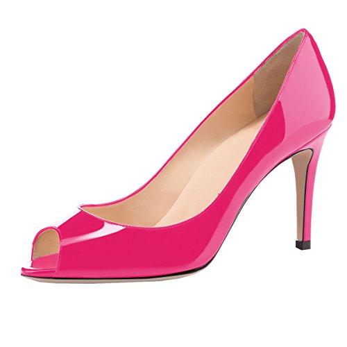 elashe Damen Peeptoe Pumps   8cm Stiletto High Heel   Bequeme Lack Stilettos Rose EU44
