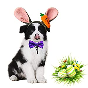 Vehomy 2 Pieces Dog Easter Carrot Bunny Ears Headband Dog Easter Collar Bowtie Puppy Dog Cat Easter Party Costume Rabbit Ears Headwear for Pet Dogs Cats Easter Dog Cat Headband Bow tie Costume