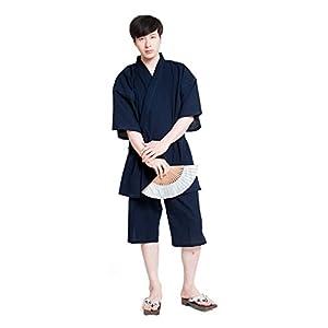 甚平 じんべい メンズ 日本製 しじら織 男性 久留米 六花/ROCCA (L, 紺)