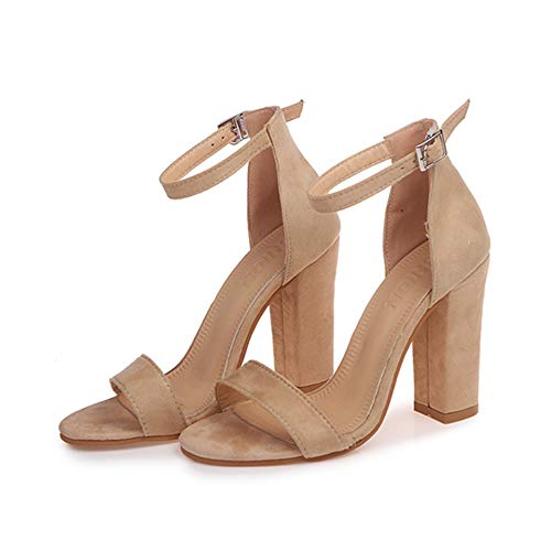 Women's Suede Open Toe Pumps Chunky Block Strappy Heeled Sandals Ankle Strap High Heels Fashion Hairball Pump Sandals Elegant Wedding Party Shoes,Beige