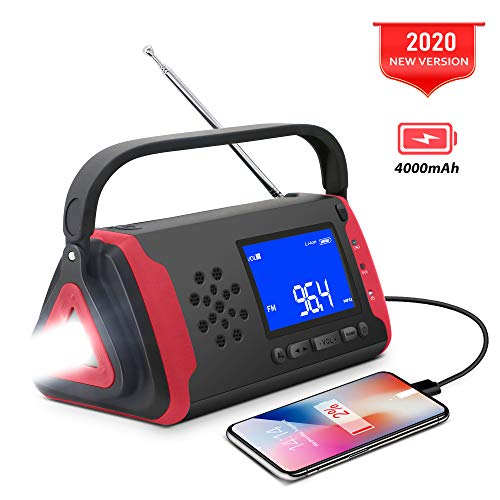 Emergency NOAA Weather Crank Solar Powered Portable Radio with 4000mAh Battery Power for Cell Phone, Bright Flashlight for Household Emergency and Outdoor Survival (097-Red)