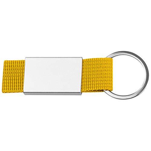 Schlüsselanhänger mit gelben Stoffbändchen