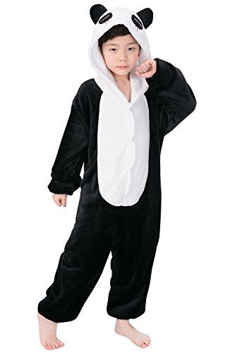 "Dolamen Niños Unisexo Onesies Kigurumi Pijamas, Niña Traje Disfraz Animal Pyjamas, Ropa de dormir Halloween Cosplay Navidad Animales de Vestuario (120-130CM (47 ""-51""), Panda)"