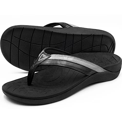 Orthotic Flip Flops with Arch Support, High Archie Thongs for Men Women Plantar Fasciitis Flat Feet Orthopedic Sandals by V.Step, Men 7