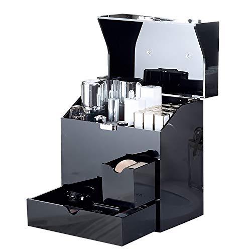Yhjkvl Joyero organizador de joyas con cajón, caja de almacenamiento para cosméticos, caja de joyería de viaje, estuche organizador de joyas (color negro, tamaño: 26 x 16 x 28 cm)