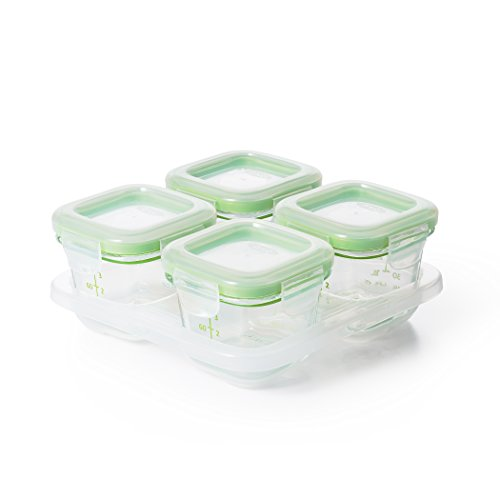 For Sale! OXO Tot Glass Baby Blocks Food Storage Containers, Green, 4 oz