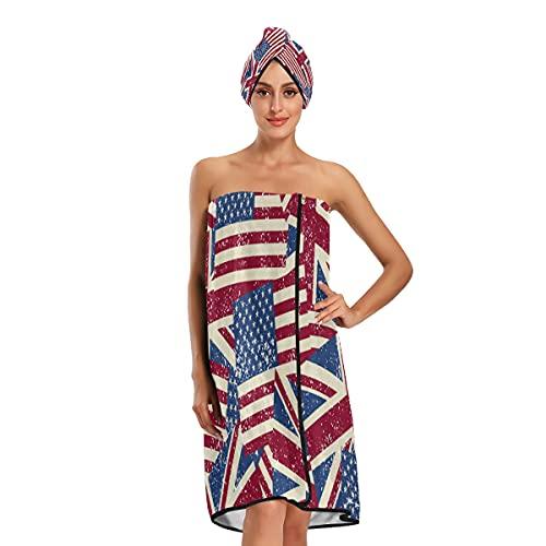 Toallas de baño ajustables con la bandera de Estados Unidos del Reino Unido y la bandera del Reino Unido, toallas de baño ajustables, juego de 3 piezas para baño spa
