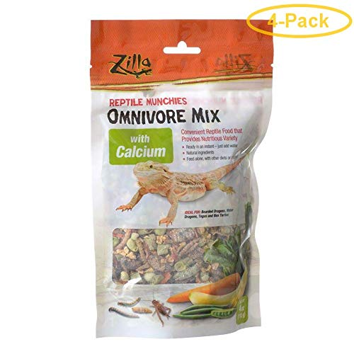 Zilla Reptile Munchies - Omnivore Mix with Calcium 4 oz - Pack of 4