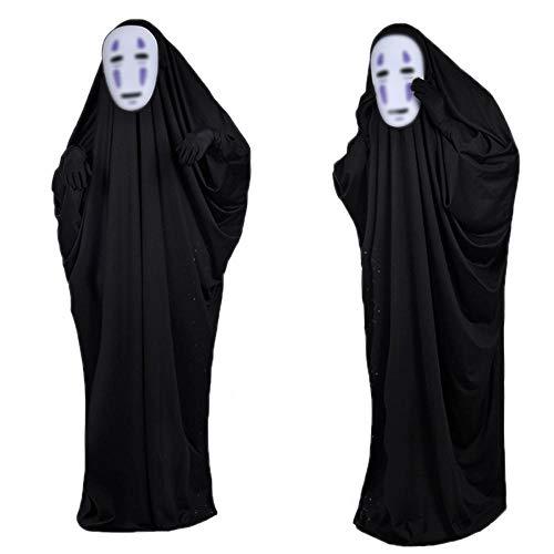 XFei Halloween Kleider Spirited Away kein Gesicht Kaonashi Cosplay kostüm Set Halloween kostüme Robe Mantel Outfit für Halloween kostüm mit lila Maske + Kleidung + Handschuhe