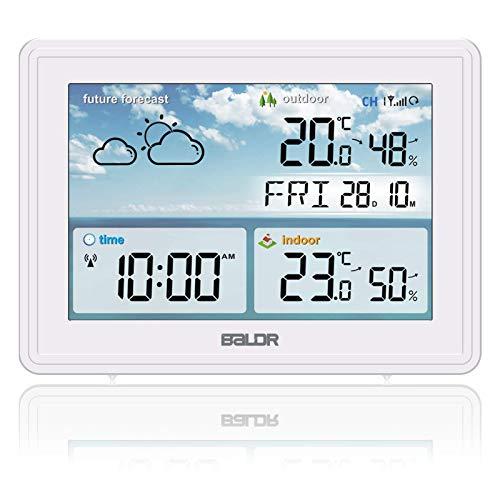 SH.RATE 2021 Wetterstation Funk mit Außensensor und Farbdisplay Berührungsempfindliche Hintergrundbeleuchtung Digital Thermometer-Hygrometer (Weiß)