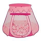 Selonis Tente 105X90cm/100 Balles Château Avec Les Balles Plastiques Piscine À Balles Pour Enfants, Rose: Rose Poudré-Perle-Transparent