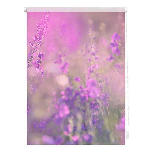 Lichtblick KRT.060.150.313 Rollo Klemmfix, ohne Bohren, Blickdicht, Blumenwiese - Fuchsia Violett 60 x 150 cm (B x L)
