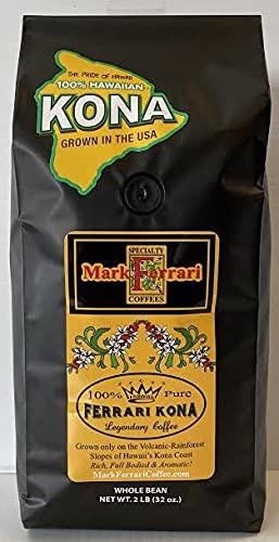100% Hawaiian Kona Coffee-Whole Bean, 2 LB Bag