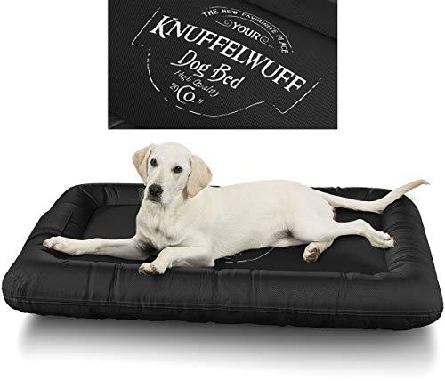 Knuffelwuff 13969-007 Wasserfestes Hundebett Avery mit Vintage Aufdruck, XXL, 120 x 85 cm, schwarz