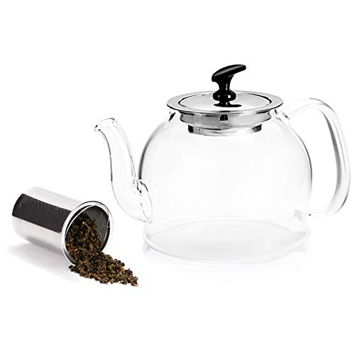 Inavis Glass Teapot with Removable Infuser, 23 oz Tea Kettle for Stove top- Perfect for Blooming and Loose Leaf Tea