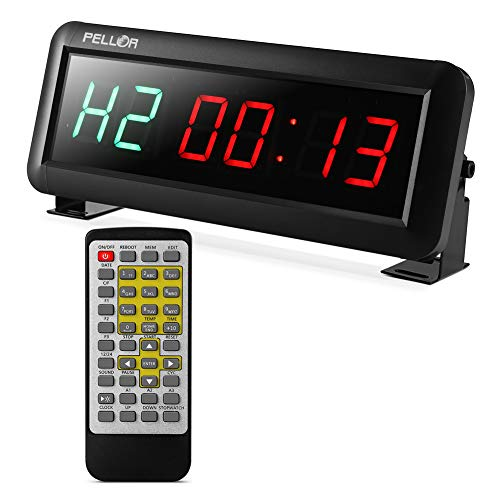 PELLOR Fitness Training Gym Timer, Interval Timer Clock with Remote Control Indoor for Crossfit, Tabata, EMOM, MMA (2.3