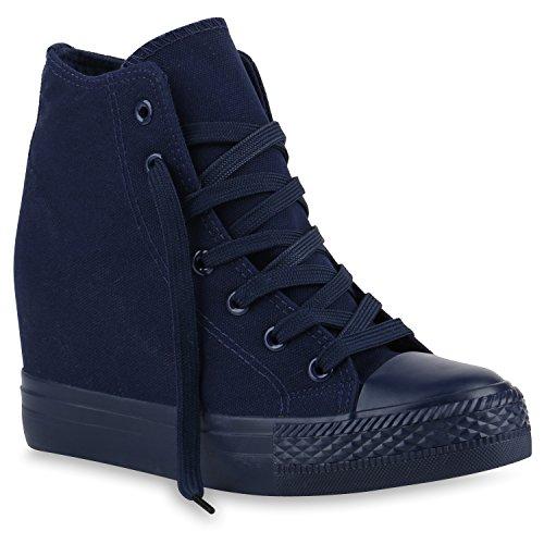 stiefelparadies Damen Sneakers Keilabsatz Sneaker-Wedges Trendfarben Stoffschuhe 139855 Dunkelblau Dunkelblau 40 Flandell