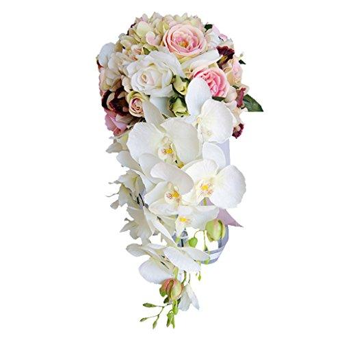 FLAMEER Romantische Kaskade Brautstrauß Seide Rose Orchidee Hochzeit Prom Blumenschmuck - Pink, 46 x 42 cm