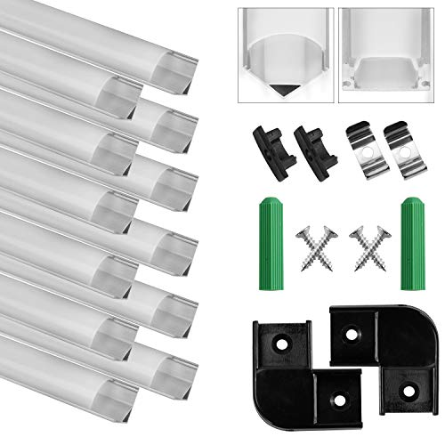 Perfil de Aluminio, 12 Pack 1M/3,3ft V Forma, Cubierta de difusor blanco lechoso, Los Casquillos de Extremo y los Clips de Montaje del Metal, Canal de Aluminio para tiras LED, 12M, Plata