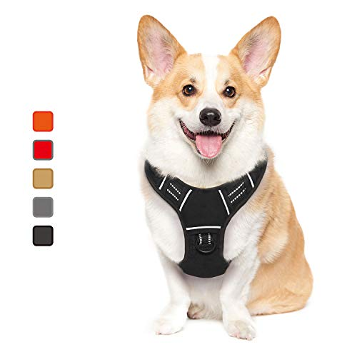 ATOPARK Dog Harness No-Pull Pet Harness Adjustable Comfortable Harness with Handle Outdoor Pet Vest Reflective Oxford Soft Breathable Vest Easy Control for Small Medium Large Dog Black S