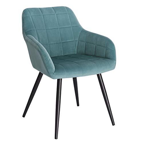 WOLTU® Esszimmerstuhl BH93ts-1 1 Stück Küchenstuhl Polsterstuhl Wohnzimmerstuhl Sessel mit Armlehne, Sitzfläche aus Samt, Metallbeine, Türkis
