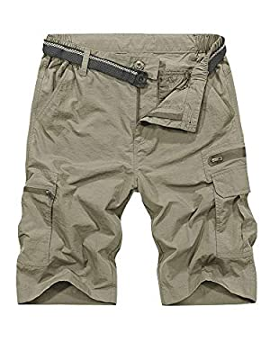 Jessie Kidden Mens Outdoor Casual Expandable Waist Lightweight Water Resistant Quick Dry Fishing Hiking Shorts (6222 Khaki 36)