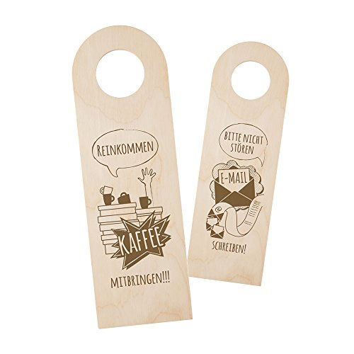 Casa Vivente – Türschild aus Holz mit Gravur fürs Büro – Lustiger Türanhänger – Beidseitige Gravur – Türhänger mit Spruch – Bitte Nicht stören – Kaffee mitbringen – lustige Geschenkidee für Kollegen
