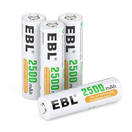 EBL AA Rechargeable Batteries 1.2V 2500mAh High Performance Pre-Charged AA Batteries - 4 Pack