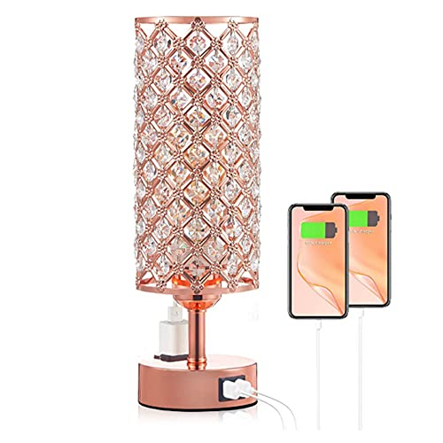 Crystal Lámpara de mesita de Mesa Lámpara inalámbrica Dormitorio NightStand Luz Moderna E27 Lámpara para Sala de Estar Habitación Cómoda Decoración de Mesa, Rose Gold