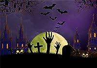 新しい7X5FTハロウィーンお化け城の背景写真の墓のための墓クロス怖い手が地面から飛んでいるコウモリ墓地背景ホラー休日子供子供トリックオアトリート写真プロップビニール