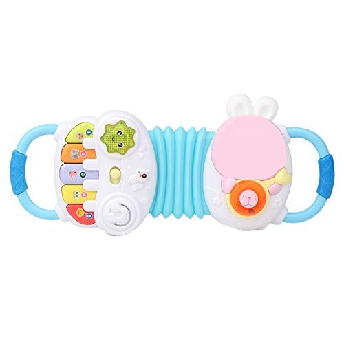 Elektrische frühe Bildung Puzzle Musik Akkordeon, Ton und Licht Musikinstrument Babyspielzeug Baby Geige Mädchen Simulation,Blau