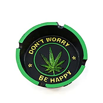 Cool Cigarette Ashtray Inscribed  Don t Worry Be Happy  and Marijuana Leaf Centerpiece For Home Decor - Smoke Anywhere With Vintage Hippie Pot Leaf Weed Ashtray Craft Table Top Decoration Gifts