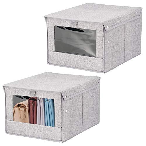 mDesign 2er-Set Aufbewahrungsbox mit Deckel und Sichtfenster – Schrankorganizer für das Schlaf- oder Kinderzimmer – würfelförmige Klappbox aus Stoff – grau
