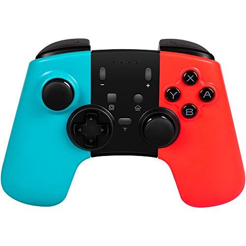 STOGA Wireless Pro - Mando inalámbrico para Nintendo Switch, Controlador de Gamepad inalámbrico Bluetooth con función de Doble vibración y Ejes Turbo giroscópicos para Nintendo Switch(Azul + Rojo)