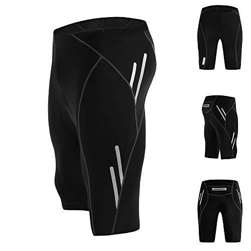 JOYSPACE Hombre Pantalones Cortos de Bicicleta Shorts de Ciclismo Hombre con 4D Acolchado MTB Ciclismo Pantalones Cortos Ropa Interior de Bicicleta estáticas,L