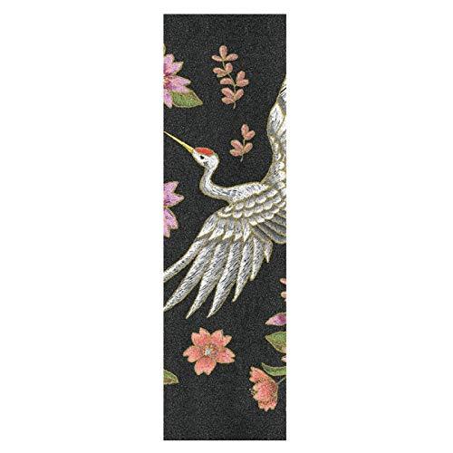 Japón Grulla Pájaro Flor Monopatín Papel de Lija Antideslizante Hoja Cinta de Agarre Lijas para Patineta Scooter Etiquetas engomadas (84 x 23 cm)