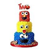 CORODER Glitter Two Year Birthday Cake Topper Decoration Sesame Street Birthday Party Supply
