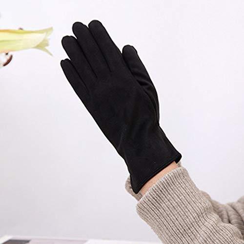 Women Winter Gloves,Pantalla Táctil Negra De Ante con Cinco Dedos Guantes De...