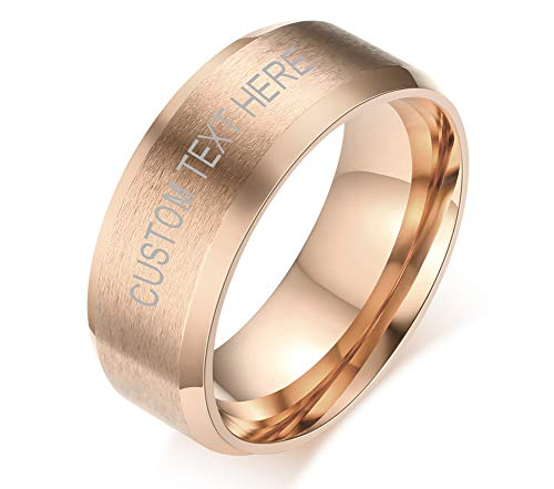 VNOX Customisable Personalised Rose Gold Plated Stainless Steel Brushed Finish Round Simple Band Ring for Men,Size V 1/2,Free Engraving