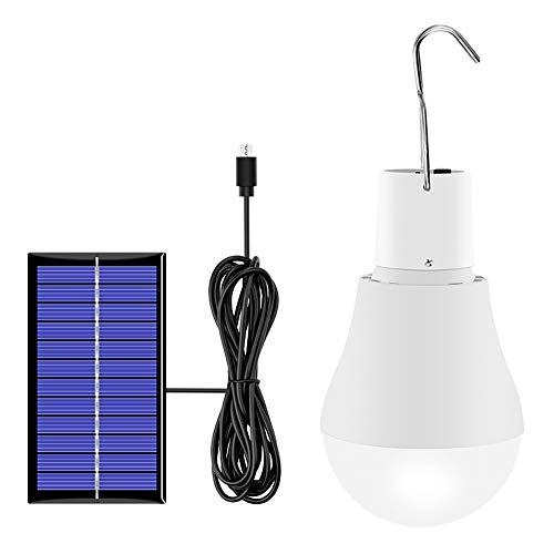 Walmeck Bombilla de luz Solar 130LM Luz de Bombilla LED con energía Solar portátil para Senderismo Pesca Iluminación de Tienda de campaña