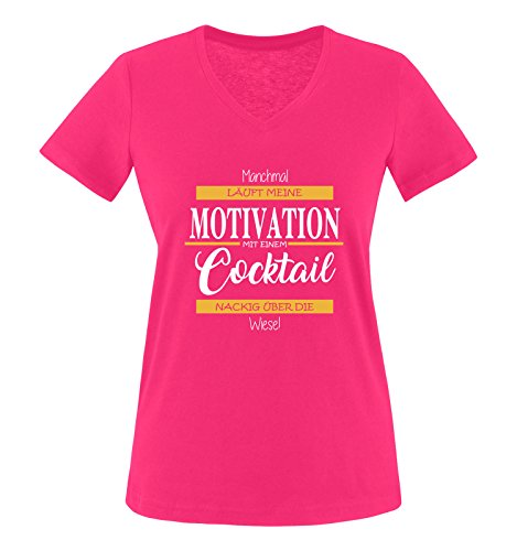 Comedy Shirts - Manchmal läuft Meine Motivation mit einem Cocktail nackig über die Wiese - Damen V-Neck T-Shirt - Pink/Weiss-Gelb Gr. XXL