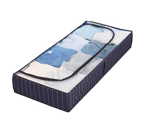 WENKO Unterbettkommode Comfort - Unterbett-Aufbewahrungstasche mit Sichtfenster, 105 x 15 x 45 cm, blau