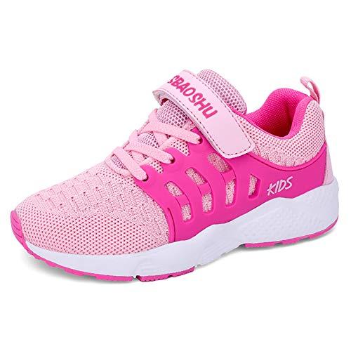 Decai Ligeras Zapatillas Deportivas Unisex Niños Zapatillas de Correr Niño Zapatos Deportivo Transpirable Niña Zapatos de Running Deportes de Exterior Interior Rosa 33 EU