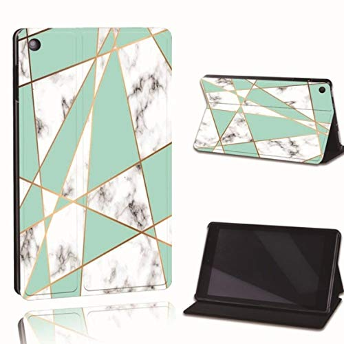 for Amazon Fire 7 5/7/9th Fire HD 8 10 Alexa Printed Leather Tablet Stand Folio Cover-Ultra-Thin Tablet Stand Case,20.Green Triangle,Fire 7 5th 7th 9th
