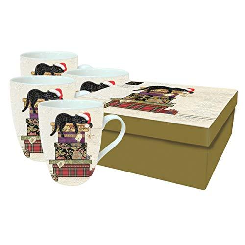 Bug Art [Q2817 - Coffret 4 Mugs Porcelaine (Chat noël) - 10.5x7 mm