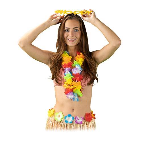 Relaxdays 10024366 Blumenkette Tropicana, 24 Stück, Hawaiiketten Set, Kostüm Zubehör. Kette für Party, Festival, Fasching, bunt, Unisex– Erwachsene