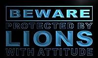 ADVPRO m514-b Beware Lions LED看板 ネオンプレート サイン 標識