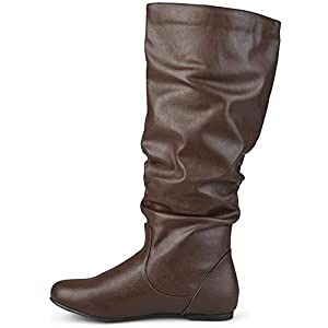 Journee Collection Womens Extra Wide-Calf Mid-Calf Slouch Riding Boots Brown, 9.5 Extra Wide Calf US